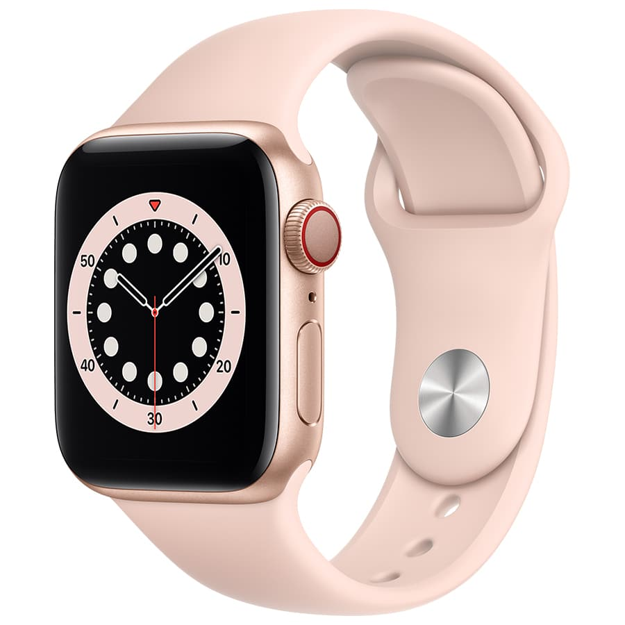 du™ Shop | Personal | Apple Watch Series 6 GPS | 40mm | Gold Aluminium Case with Pink Sand Sport Band